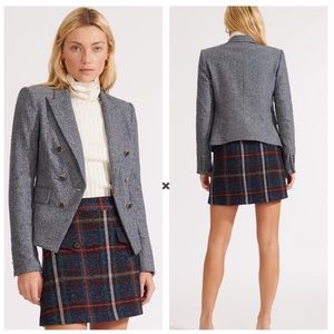 Veronica Beard Diego Dickey Fitted Blue Blazer
